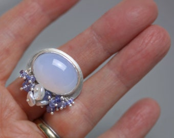Natural Blue Chalcedony Ring with Tanzanite and Pearls. Size 8 1/4.