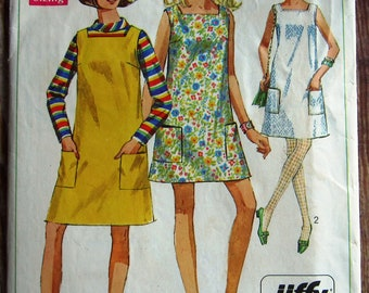 Easy Sew Misses Sleeveless and Collarless Dress in Two Lengths or Jumper Size 10 Vintage 1960s Jiffy Simplicity Pattern 7622 Cut/Complete