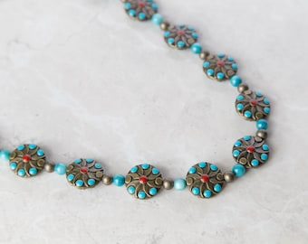 Antique Gold, Turquoise, & Red Coins Beaded 2 Piece Jewelry Set - Necklace and Bracelet
