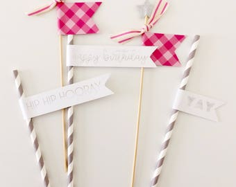 Pink & Silver Birthday Cake Toppers