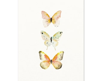 Watercolor Butterfly Art Print. Soft Orange Butterfly Poster. Pastel Colored Butterfly Wall Art. Modern Nursery Art. Unique Pink Nature Art.