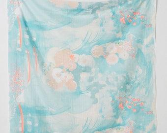 KOMOREBI IN SPRINGS, nani Iro Double Gauze Fabric ~ Teal and Pink Fabric ~ Weave and Woven