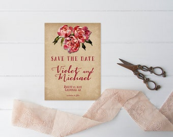 PRINTED Save The Date Cards in Red Rustic Weddings / Rustic Farmhouse Weddings in a Farm House Barn / 5x7 Save The Dates / Ruby Red Weddings
