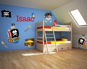 Pirate Theme Decor - Pirate Wall Art - Name Wall Decal - Pirate Wall Decals - Pirate Boys Room - Pirate Theme Room Art