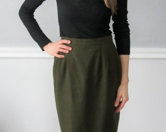 Vintage Burberry Olive Green Skirt