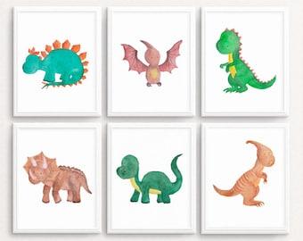 Awesome Dinosaur Wall Art, SET OF 6, Dinosaur Print Dinosaur Printable Dinosaur  Prints Watercolor Dinosaur Decor Baby Boy Nursery A4 11X14 DOWNLOAD
