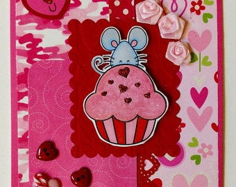 I Love You Cupcake Valentine's Card, handmade one of a kind greeting card