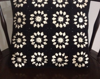 Decorative Crochet Pillow, Black and Cream Crochet Pillow, Accent Pillow, 14x14 Pillow
