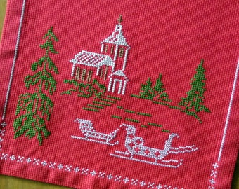 Swedish vintage 1970s larger unused HANDMADE red Aida cotton cross-stitch Christmas motive embroidery table-cloth runner