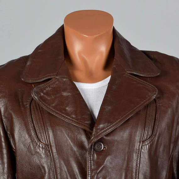 Brown Pockets Reenforced Vintage Leather Partial Leather 70s Mens Zip Jacket Plush 1970s Belt Liner Back in 39R fq0I4wx