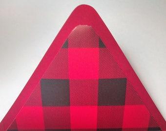 Red Buffalo Print- Lined Envelopes