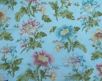 Flora and Fauna Blue Sky Cotton Fabric from Benartex 1 yd,