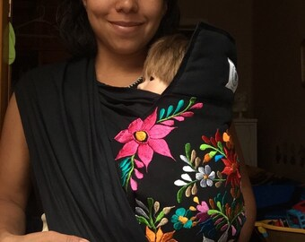 Mexican artisan embroidered mei tai (black)