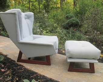 Rare Wingback Chair with Ottoman by Adrian Pearsall for Craft Associates