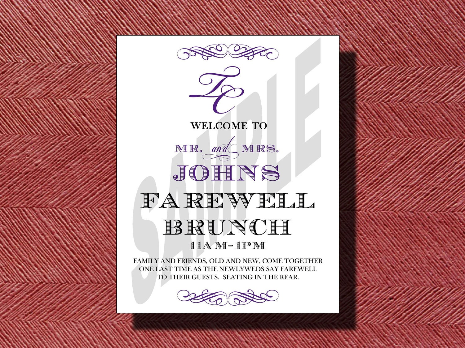 Wedding Farewell Brunch Invitation or Sign