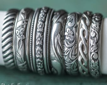 Choose your own Unique Wedding Set Sterling Silver Rings
