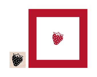 Mini Strawberry Rubber Stamp