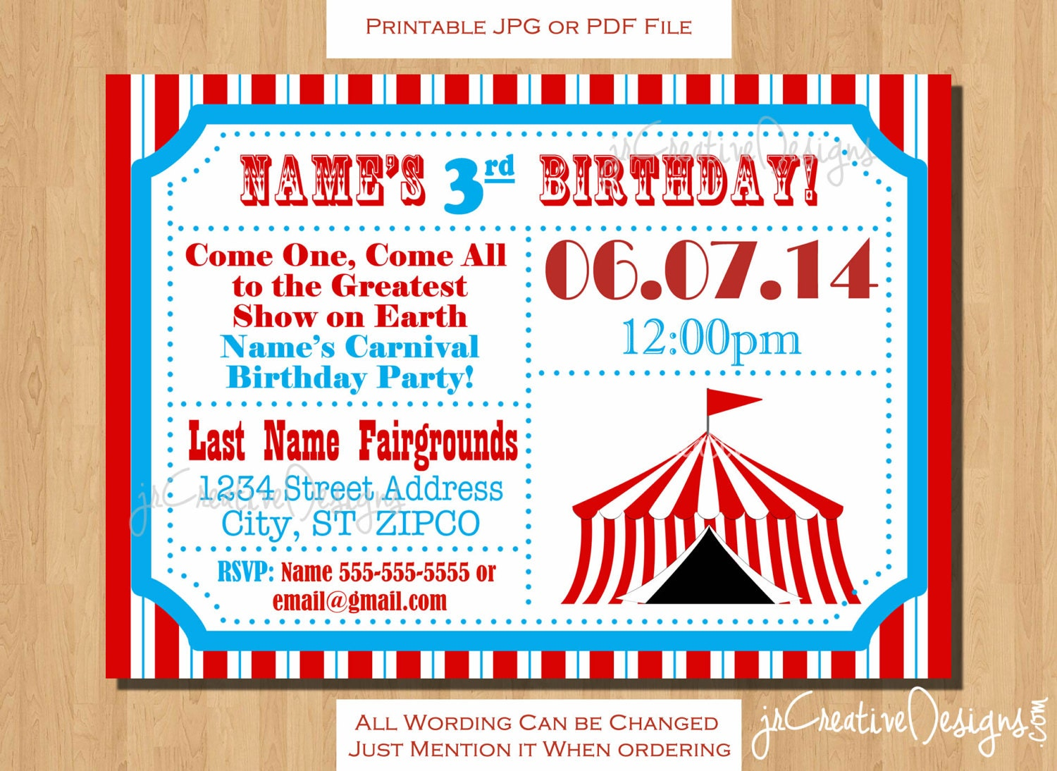 Circus themed party Circus Birthday invitation Ticket