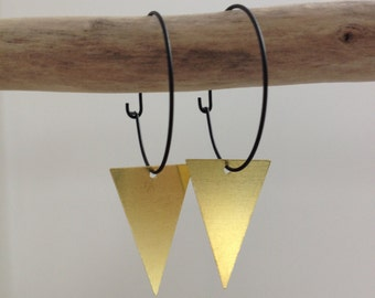 CLEARANCE Black Triangle gold hoop earrings