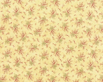 Yellow Cottage Chic Fabric, 3 Sisters Favorites Moda 3707 14 Lemon, Yellow Floral Quilt  Fabric, Pink & Yellow Flowers, Shabby, Cotton