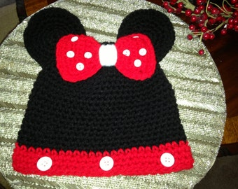 Crocheted Minnie Mouse Hat!