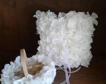 Hydrangea petals flower girl, small 4 inch basket and Ring Bearer pillow