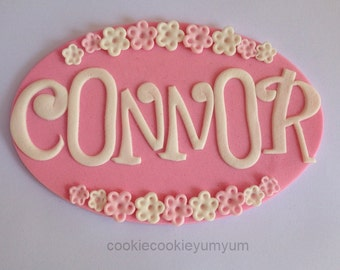 1 edible large PERSONALISED NAME PLAQUE cake topper flowers decoration age icing decorations wedding anniversary birthday engagement