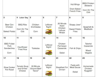 September 2017 Weekly & Monthly Menu Plan | Meal Plan | Hunger Action Month | Menu Plan With Grocery Lists | #NoKidHungry | Labor Day