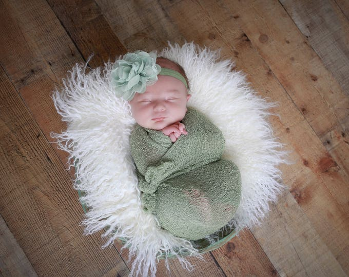 Featured listing image: Sage Knit Wrap AND/OR Matching Sage Chiffon and Lace Flower Headband, photo shoots, newborn swaddle wrap, bebe foto, Lil Miss Sweet Pea