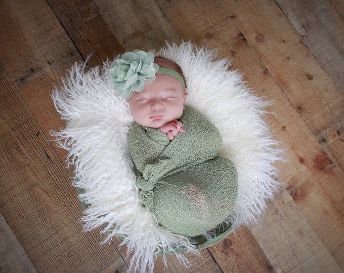 Sage Knit Wrap AND/OR Matching Sage Chiffon and Lace Flower Headband, photo shoots, newborn swaddle wrap, bebe foto, Lil Miss Sweet Pea