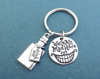 We're All Mad Here, Drink me, Key chain, Alice in wonderland, Drink, Bottle, Alice, Wonderland, Key ring, Birthday, Friends, Gift