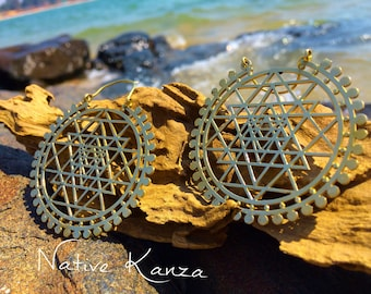 LARGE Sri Yantra Brass Hoops, Large Brass earrings, Tribal jewellery, Tribal earrings, boho earrings, Sacred geometry jewelry