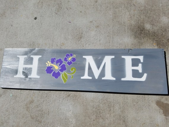 """Handmade Wall Art - """"HOME"""" Sign with Camper in Blue"""