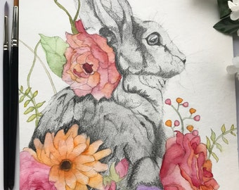 Watercolour and Pencil Sketch Rabbit with Flowers