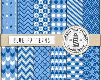 BUY5FOR8, Blue Digital Paper, Blue Patterns, Chevron, Polkadot, Stripes, Backgrounds For Scrapbooking, Invitations, Card Making