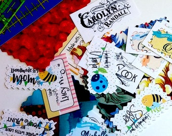 Custom Order Fabric Labels, Your Logo, Your Name, Custom Sizes, 100% Cotton, Colorfast, 60-80 Labels Depending on Size, Uncut
