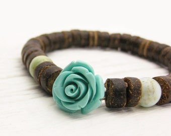 Boho Flower Gemstone Bracelet / Turquoise Resin Flower / Sterling Silver / Peruvian Opal / Coconut Wood / sky blue brown rustic bohemian