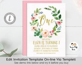 Girls floral Birthday Invitation, 1st Birthday Invitation Girl, Watercolor Floral Birthday Invitation, First Birthday Invitation, Templett