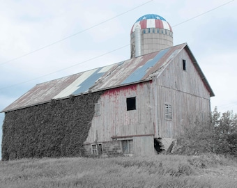 Country Barn in Black and White USA Silo P1260