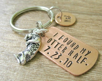 Personalized Otter keychain, I Found My Otter Half, optional disc with initials, add anniversary date, engagement gift, wedding gift