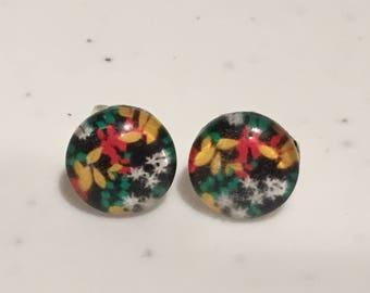 10MM Tropical Flowers Stud Earrings