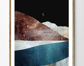 Glacial River - Mountain Painting, Crescent Moon Print, Surreal Nature Poster, Scandinavian Art, Glaciers, Night Sky, Lake Decor, Iceberg
