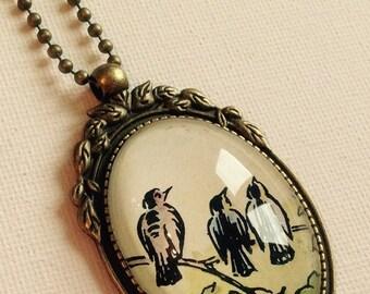 Vintage Bird Family Pendant