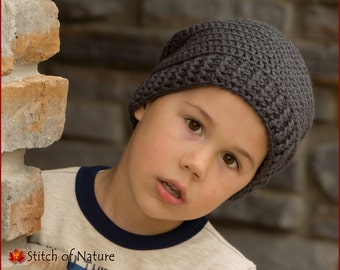 Crochet PATTERN - The Clayton Slouchy Hat, Slouchy Beanie Pattern (Baby to Adult sizes - Girls, Boys) - id: 16032