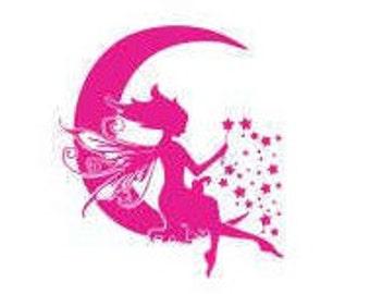 Fairy Moon Decals: Kids Decals, Girls Room Decor, Bedroom Decor for Girls, Gifts for Girls, Fairy Decor, Fairy Gifts, Make A Wish Decals