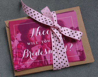 Pink & Photo Bridesmaids proposal Will you be my bridesmaid card, will you be my bridesmaid, bridesmaid card, bridesmaid proposal card