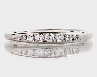 Antique Wedding Band - Antique 14k White Gold Diamond Wedding Band