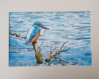 Kingfisher print art limited edition giclee print watercolour painting wildlife art bird painting, The Catch