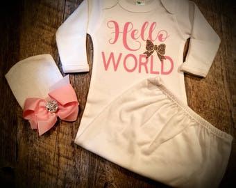Hello World, Gown/Cap Baby Girl Set, Perfect For Baby Shower or Coming Home Outfit