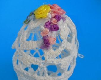 Vintage Egg Ornament Vintage Easter Decor Vintage Crocheted Egg Ornament Vintage Handmade Easter Egg Ornament White Easter Egg  Ornament